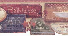 Antique Soap Bathroom Wallpaper Border has a collection of antique box's and bar soaps with a scalloped/die cut edge.