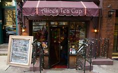 """Alices's Tea Cup NYC.  Fun place to take the """"little hip chicks"""" in your life.  Yummy finger sandwiches, scones, cookies, cupcakes and tea served on China.  Fairy wings available for all little girls to wear while dining:)  Gwyneth Paltrow takes little Apple here!!"""