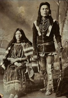 Nisto Maskwak (aka Three Bears) and his wife - Cree - circa 1890 - he is one fine looking man for old school.