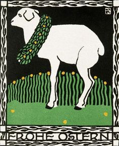 Josef Diveky, Viennese Happy Easter Greeting card, 1907-08, via Flickr.