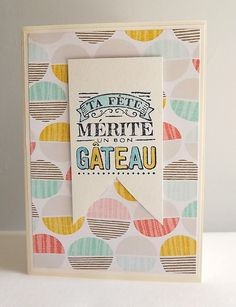 French birthday card cake card handstamped by MaudieMaudie on Etsy