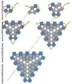 Seed bead jewelry * peyote triangles -three bead start ~ Seed Bead Tutorials Discovred by : Linda Linebaugh Seed Bead Tutorials, Seed Bead Patterns, Beaded Bracelet Patterns, Peyote Patterns, Weaving Patterns, Beading Tutorials, Beaded Earrings, Beaded Bead, Color Patterns