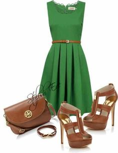 Green dress, brown heels - LOVE!