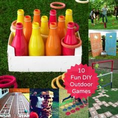 Try these 10 DIY games for outdoor family fun. Ring toss, cornhole, and giant versions of your favorite board games will keep your kids moving and create hours of fun.