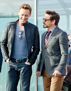 "Avengers // Tom Hiddleston and Robert Downey Jr. - It looks like Robert is interrogating Tom. RDJ: ""Why are you so perfect?"" TOM:""I don't know what you're talking about."" RDJ: ""How did you steal all my fangirls?"" TOM: ""Ehehehe I don't know what you mean."""