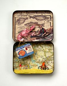 Padstow diorama in a vintage tin Matchbox Crafts, Matchbox Art, Altered Tins, Mint Tins, Tin Can Crafts, Creative Box, Tin Art, Collages, Miniatures