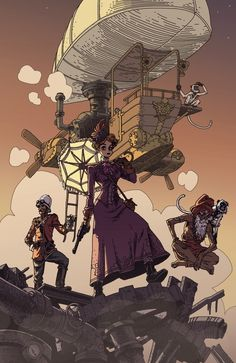 """[Inspiration] """"Constance Chesterton & the Search for the Cogs of Karma"""" by Gael Bertrand for the Outland Collective Steampunk challenge. Design Steampunk, Steampunk Artwork, Steampunk Airship, Character Concept, Character Art, Concept Art, Diesel Punk, Steampunk Illustration, Illustration Art"""