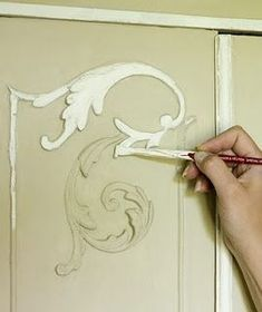 French Armoire Detail. Annie Sloan shows how to paint with her brand Chalk Paint. Color: Country Grey