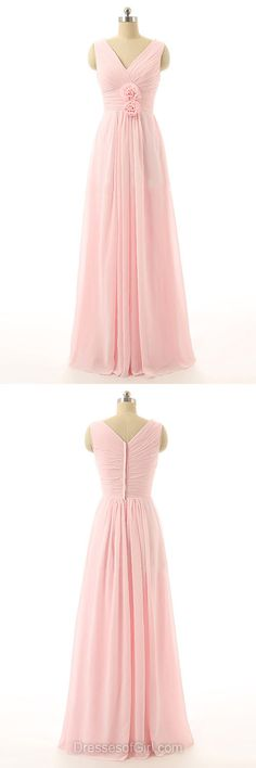 Pink Bridesmaid Dresses, Long Bridesmaid Dress, Chiffon Bridesmaid Dresses, V-neck Bridesmaid Dresses, Cheap Bridesmaid Dress