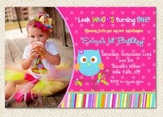 @Summer Buchanan This is the one I was telling you about! Owl Birthday Invitations by LollipopPrints on Etsy, $10.00