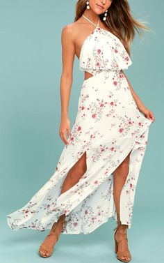 Lost + Wander Malibu White Floral Print Maxi Dress @bestmaxidress