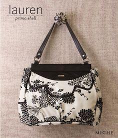 Miche Purse Sale! Black Asian Floral Pattern Lauren Shell for Prima Bags. uniquestylishpurses.blogspot.com