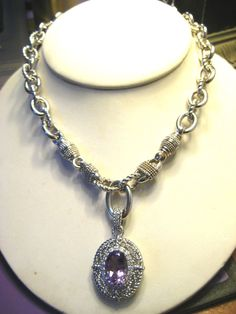 """Love the luxuriousness of Judith Ripka Jewelry!!!  Chunky Chain 19"""" Necklace Amethyst Pendant Enhancer CZs 107.7g LB #JudithRipka #Chain #sterling #silver #ripka #jewelry #luxury"""