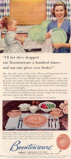 1955 Vintage Melmac Ads----AMEN. I have dropped mine at least that many times.