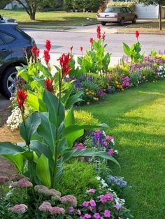 Small garden landscape - 40 Small Front Yard Design with Beautiful Blooming Flowers – Small garden landscape Small Front Yard Landscaping, Front Yard Design, Mulch Landscaping, Tropical Landscaping, Landscaping Ideas, Backyard Ideas, Mulch Ideas, Mailbox Landscaping, Canna Lily Landscaping