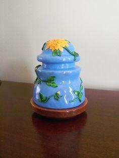 Glass Insulator Lamp Night Light  Blue with by FlowertownOriginals,