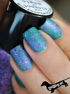 Rainbow Honey Nail Polish The Element of Magic over teal polish. Available at https://esthersnc.com/nail-supplies/element-magic