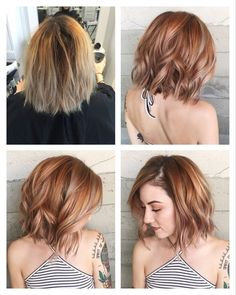 Lots of makeovers. Silver, rose gold, pink, balayage, and jewel tones. – Album o… - Strawberry Blonde Medium Hair Styles, Short Hair Styles, Brown Blonde Hair, Dark Hair, Brown To Red Hair, Auburn Blonde Hair, Medium Auburn Hair, Blonde Pink, Blonde Honey