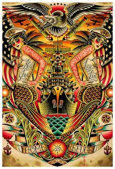 Title: Refuge Artist: Tyler Bredeweg Beautiful tattooed mermaids and ship tattoo art print. Fine art printed on heavy weight, 100 lb semi-gloss cover stock. Each print measures 12 inches x 18 inches (