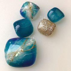Fancy Nails Designs, Classy Nail Designs, Feet Nails, Classy Nails, Toe Nail Art, Beautiful Nail Art, Pedi, Beauty, Blue