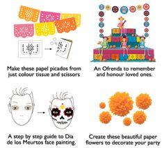 Craft ideas and tutorials for  decorations at a Day of the Dead party! #dayofthedead #diadelosmuertos https://happythought.co.uk/product/dia-de-los-muertos-printables