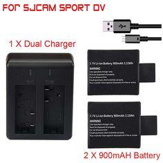 For SJCAM SJ 4000 5000 Sport Camera DV 2pcs/set 3.7V 900mAh SJ4000 SJ5000 SJ6000 Replacement Backup Battery+Dual Battery Charger #Affiliate