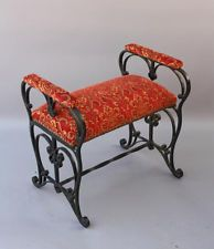 RARE 1920s Wrought Iron Spanish Revival Home Bench Chair Seat ~ New Upholstery