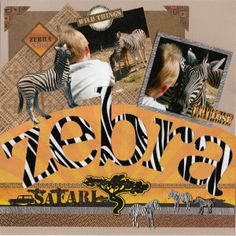 zebra safari layout - papers and embellies by reminices... zoo layout,tami sanders,scrapbook layout,scrapbook page,12 X 12 scrapbook page,safari page