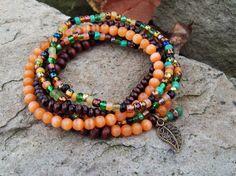 Guardian Stone  Orange Cats Eye Beaded Bracelet Stack  by Angelof2, $26.50