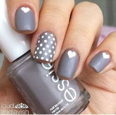 essie, grey, heart, mat, nail art, nails, white