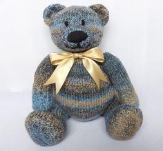 Big Berry Bear - Blue Teddy Bear handmade by Laineknits on Folksy
