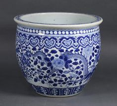 Chinese Blue and White Fish Bowl, Dragons - Price Estimate: $2000 - $4000