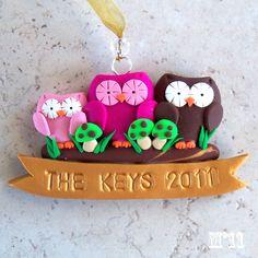 Hoo Who's Your Family CUSTOM Owl Polymer Clay Ornament. $15.00, via Etsy.