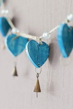 Blue heart decoration withe little bells on them