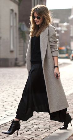 Long Coat With Culottes Winter Outfit by Fash n Chips