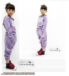 Trendy Girl's Clothing Set, Cute Bow Print High Quality Velvet Girl's Hooded Jacket+Long Pants, Warm Wear,Free Shipping K0195