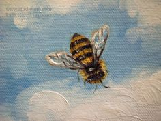 """paintings of bees   Fuzzy Honey Bees Flying in the Clouds, 6""""x6"""","""