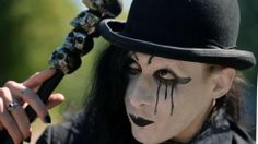 A reveler poses for pictures at the Victorian Picnic during the Wave and Goth festival in Leipzig June The annual festival, known in Germany as… Hr Giger, Gothic Festival, Agra, Festivals, Poses For Pictures, Dark Side, Riding Helmets, The Darkest, Halloween Face Makeup