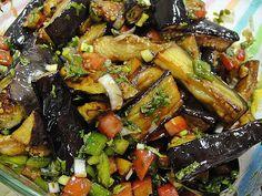 Maryam's Culinary Wonders: 447. Iraqi Fried Aubergine and Pomegranate Molasses Salad