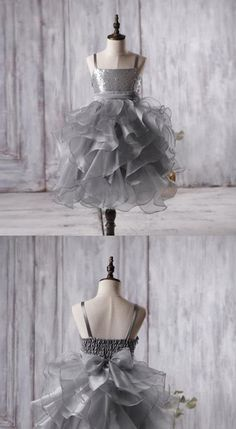 Dark Grey Sequin Organza Bustled Flower Tutu Dresses, Cheap Popular Flower Girl Dresses, FG053