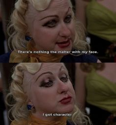 """Kim McGuire as Mona 'Hatchet-Face' Malnorowski in """"Cry-Baby"""" (""""Beksa"""") by John Waters Cry Baby Movie, Cry Baby 1990, Movie Tv, Got Characters, John Waters, Favorite Movie Quotes, Favorite Things, The Rocky Horror Picture Show, Movie Lines"""