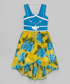Look what I found on #zulily! Blue Floral Dress & Necklace - Toddler & Girls #zulilyfinds