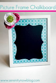 Picture Frame Chalkboard (Chalkboard Adhesive Vinyl!).