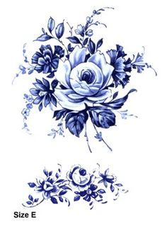 Blue Delft Floral - reminds me of blue and white pottery, might take inspiration… Vintage Blume Tattoo, Vintage Flower Tattoo, Vintage Flowers, Blue Flowers, Tattoo Vintage, Vintage Floral, Lotus Flowers, Blue Flower Tattoos, Flower Tattoo Drawings