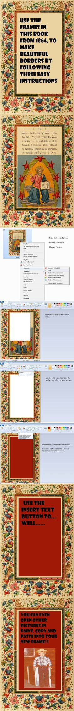 Tutorial to use Microsoft Paint and vintage books to make beautiful borders for your work! Go to the website to find more borders in the book from 1884!