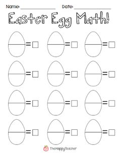 Addition and subtraction Easter math activity using plastic Easter eggs. FREE Easter math worksheet to use with this fun activity. Preschool Math, Kindergarten Classroom, Teaching Math, Maths, Math Literacy, Math Education, Math Games, Easter Activities, Holiday Activities