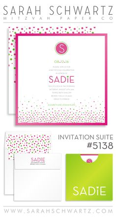 A fun and modern Bat Mitzvah invitation suite with polka dots