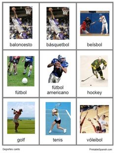 22 different sports in Spanish! Deportes cards from PrintableSpanish.com