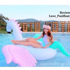 Large Pegasus pool float. Recommended for ages 8 and up but as always do not leave children unattended in or near a pool. Available in white with gold mane and wings or in multicolor. Made from heavy