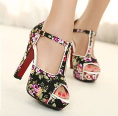 wholesale High peep toe shoes thick heel flower cloth sandals XD-MS399-3
